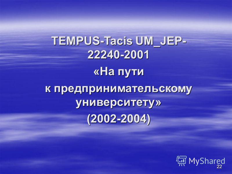 22 TEMPUS-Tacis UM_JEP- 22240-2001 «На пути к предпринимательскому университету» (2002-2004)
