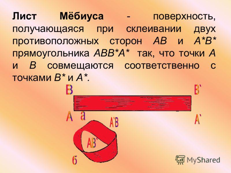 Лист Мёбиуса - поверхность, получающаяся при склеивании двух противоположных сторон AB и А*В* прямоугольника ABB*A* так, что точки А и В совмещаются соответственно с точками B* и A*.