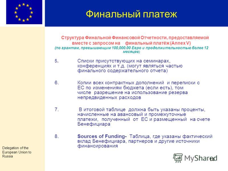 Delegation of the European Union to Russia 13 Финальный платеж Структура Финальной Финансовой Отчетности, предоставляемой вместе с запросом на финальный платёж (Annex V) (по грантам, превышающим 100,000.00 Евро и продолжительностью более 12 месяцев )