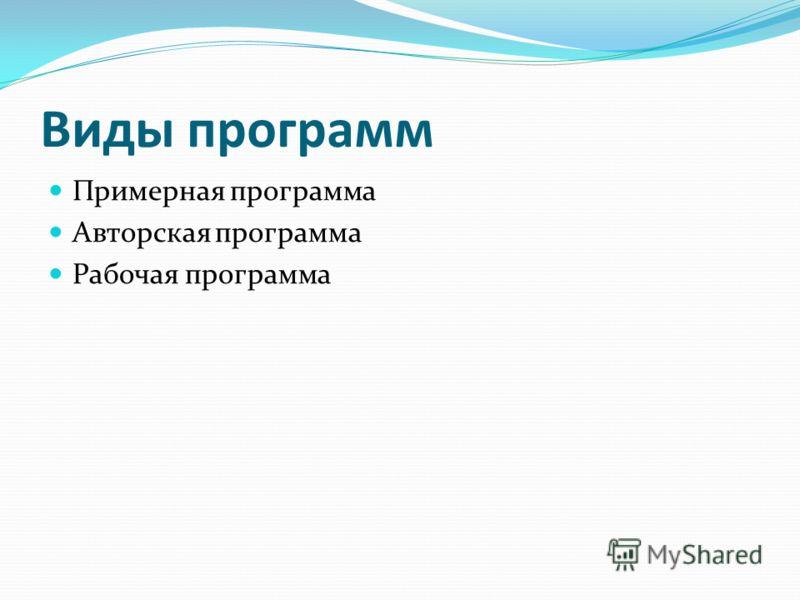 Виды программ Примерная программа Авторская программа Рабочая программа