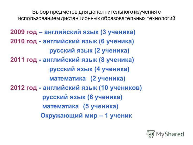 Выбор предметов для дополнительного изучения с использованием дистанционных образовательных технологий 2009 год – английский язык (3 ученика) 2010 год - английский язык (6 ученика) русский язык (2 ученика) 2011 год - английский язык (8 ученика) русск