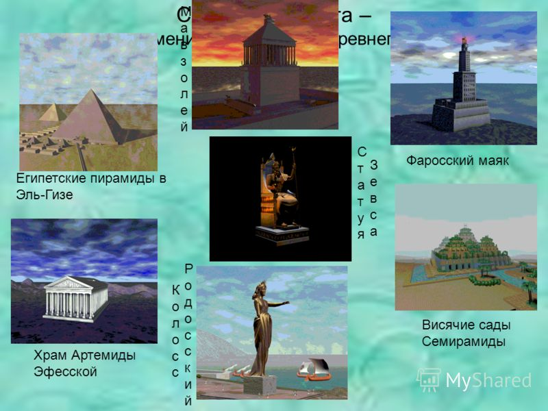 Семь чудес света – это знаменитые памятники древнего мира. Египетские пирамиды в Эль-Гизе Висячие сады Семирамиды Фаросский маяк Храм Артемиды Эфесской Мавзолей Мавзолей Статуя Статуя ЗевсаЗевса КолоссКолосс РодосскийРодосский