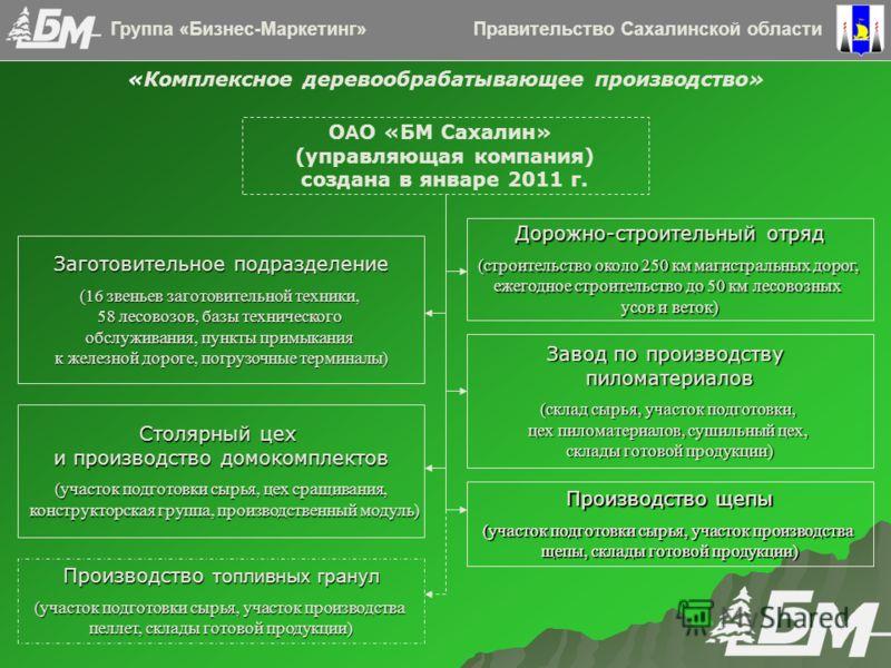 Правительство Сахалинской областиГруппа «Бизнес-Маркетинг» О А О «БМ Сахалин» (управляющая компания) создана в январе 2011 г. Дорожно-строительный отряд (строительство около 250 км магистральных дорог, ежегодное строительство до 50 км лесовозных усов
