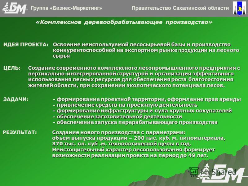 Правительство Сахалинской областиГруппа «Бизнес-Маркетинг» «Комплексное деревообрабатывающее производство» Освоение неиспользуемой лесосырьевой базы и производство конкурентоспособной на экспортном рынке прод укции из лесного ИДЕЯ ПРОЕКТА: Освоение н