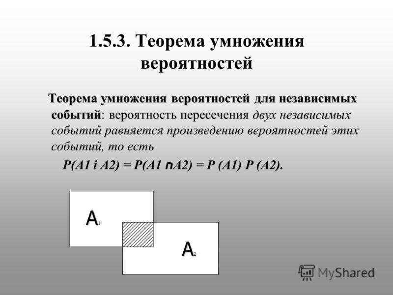 1.5.3. Теорема умножения вероятностей Теорема умножения вероятностей для независимых событий: вероятность пересечения двух независимых событий равняется произведению вероятностей этих событий, то есть Теорема умножения вероятностей для независимых со