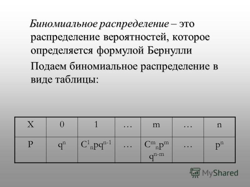 Биномиальное распределение – это распределение вероятностей, которое определяется формулой Бернулли Биномиальное распределение – это распределение вероятностей, которое определяется формулой Бернулли Подаем биномиальное распределение в виде таблицы:
