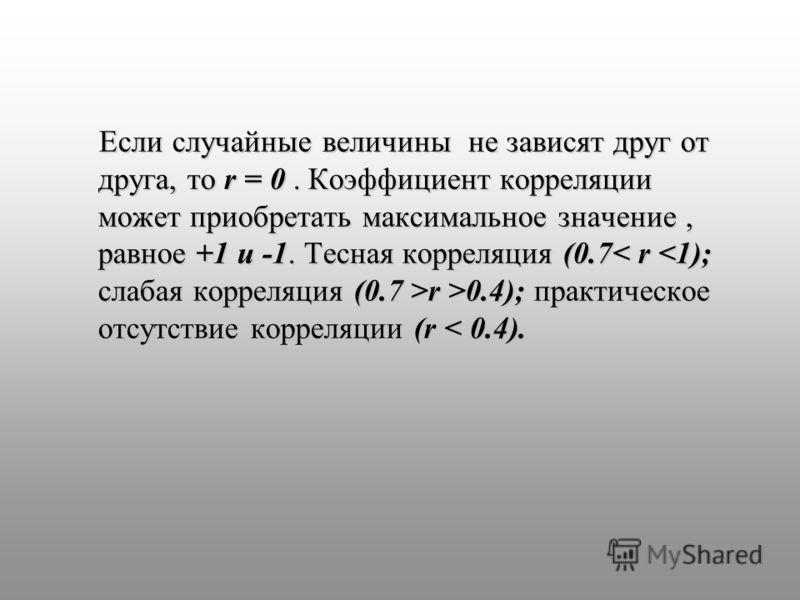 Если случайные величины не зависят друг от друга, то r = 0. Коэффициент корреляции может приобретать максимальное значение, равное +1 и -1. Тесная корреляция (0.7 r >0.4); практическое отсутствие корреляции (r r >0.4); практическое отсутствие корреля