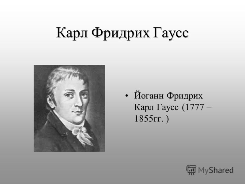 Карл Фридрих Гаусс Йоганн Фридрих Карл Гаусс (1777 – 1855гг. )Йоганн Фридрих Карл Гаусс (1777 – 1855гг. )