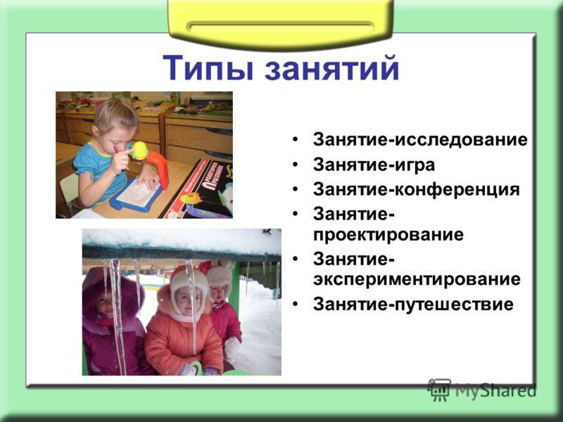 Типы занятий Занятие-исследование Занятие-игра Занятие-конференция Занятие- проектирование Занятие- экспериментирование Занятие-путешествие