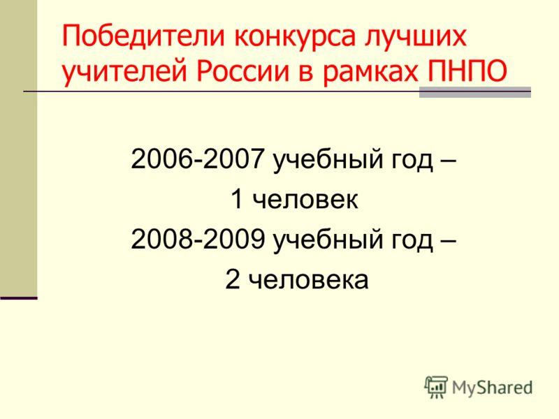 Победители конкурса лучших учителей России в рамках ПНПО 2006-2007 учебный год – 1 человек 2008-2009 учебный год – 2 человека