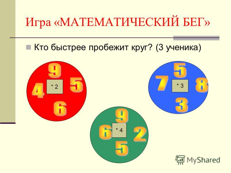 Игра «МАТЕМАТИЧЕСКИЙ БЕГ» Кто быстрее пробежит круг? (3 ученика) * 2 * 3 * 4