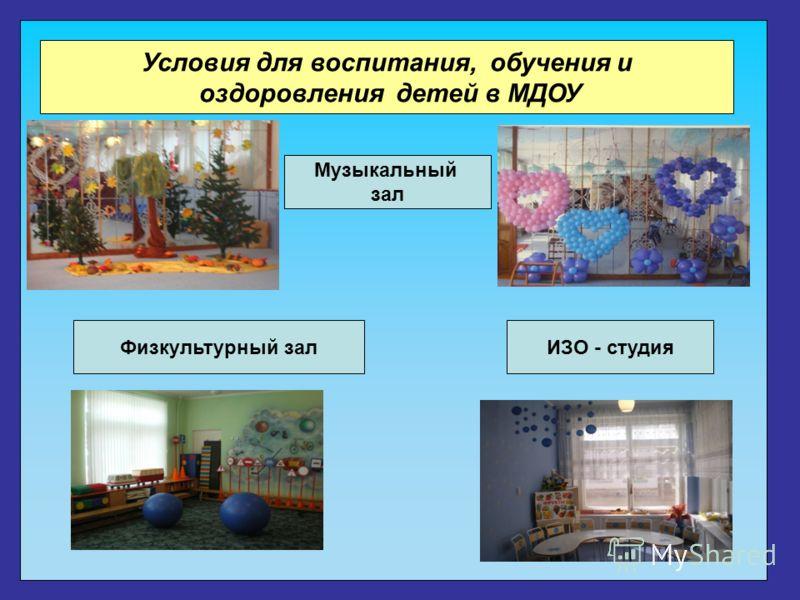 Условия для воспитания, обучения и оздоровления детей в МДОУ Физкультурный зал Музыкальный зал ИЗО - студия