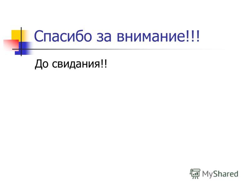 Спасибо за внимание!!! До свидания!!