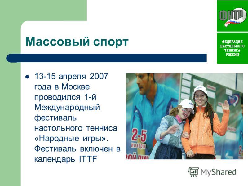 Массовый спорт 13-15 апреля 2007 года в Москве проводился 1-й Международный фестиваль настольного тенниса «Народные игры». Фестиваль включен в календарь ITTF