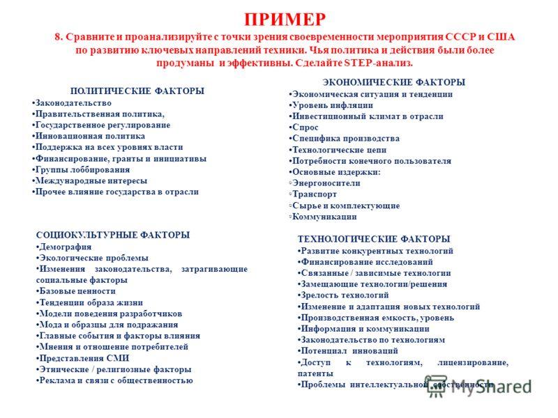ПРИМЕР 8. Сравните и проанализируйте с точки зрения своевременности мероприятия СССР и США по развитию ключевых направлений техники. Чья политика и действия были более продуманы и эффективны. Сделайте STEP-анализ. ПОЛИТИЧЕСКИЕ ФАКТОРЫ Законодательств