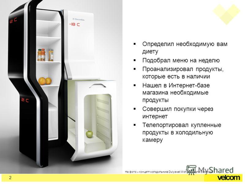 На фото – концепт холодильника Dulyawat Wongnawa для Electrolux Определил необходимую вам диету Подобрал меню на неделю Проанализировал продукты, которые есть в наличии Нашел в Интернет-базе магазина необходимые продукты Совершил покупки через интерн