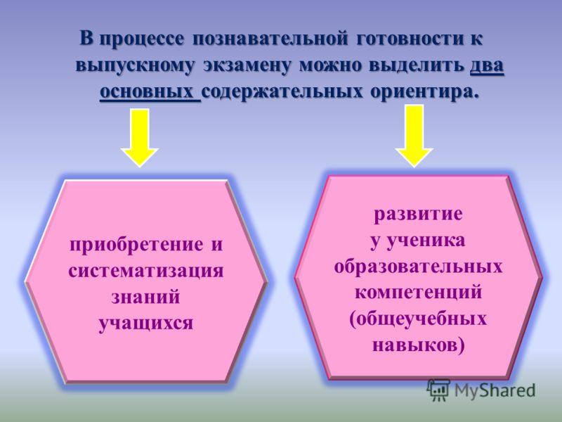 В процессе познавательной готовности к выпускному экзамену можно выделить два основных содержательных ориентира. приобретение и систематизация знаний учащихся развитие у ученика образовательных компетенций (общеучебных навыков)