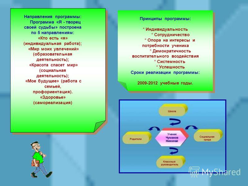 Направления программы: Программа «Я - творец своей судьбы» построена по 5 направлениям: «Кто есть «я» (индивидуальная работа); «Мир моих увлечений» (образовательная деятельность); «Красота спасет мир» (социальная деятельность); «Мое будущее» (работа