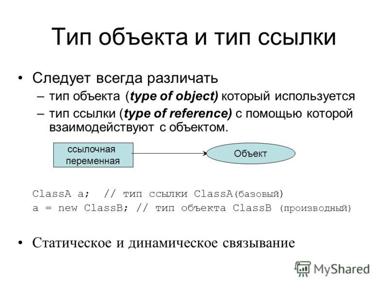 Тип объекта и тип ссылки Следует всегда различать –тип объекта (type of object) который используется –тип ссылки (type of reference) с помощью которой взаимодействуют с объектом. ClassA a; // тип ссылки ClassA (базовый ) a = new ClassB; // тип объект