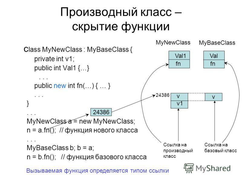 Производный класс – скрытие функции c lass MyNewClass : MyBaseClass { private int v1; рublic int Val1 {…}... public new int fn(…) { … }... }... MyNewClass a = new MyNewClass; n = a.fn(); // функция нового класса... MyBaseClass b; b = a; n = b.fn(); /