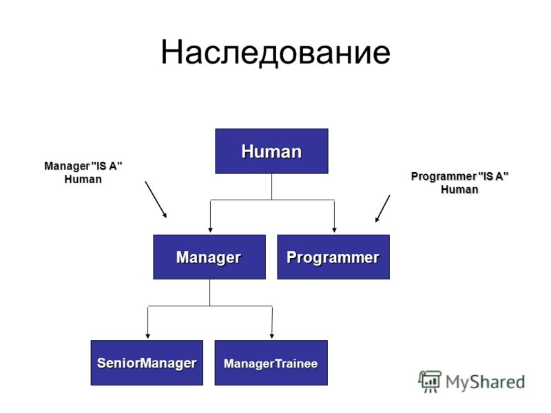 Наследование Manager IS A Human Programmer IS A Human ManagerTraineeSeniorManager ProgrammerManager Human