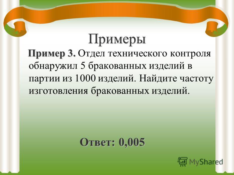Примеры Пример 3. Пример 3. Отдел технического контроля обнаружил 5 бракованных изделий в партии из 1000 изделий. Найдите частоту изготовления бракованных изделий. Ответ: 0,005