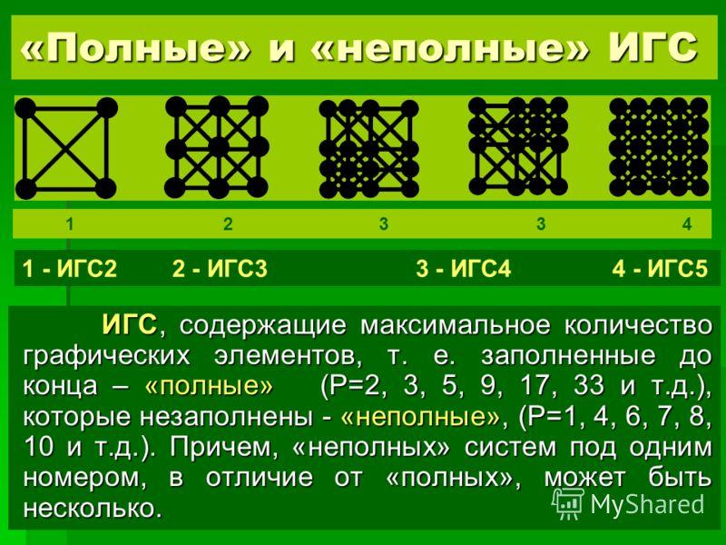 «Полные» и «неполные» ИГС ИГС, содержащие максимальное количество графических элементов, т. е. заполненные до конца – «полные» (P=2, 3, 5, 9, 17, 33 и т.д.), которые незаполнены - «неполные», (P=1, 4, 6, 7, 8, 10 и т.д.). Причем, «неполных» систем по