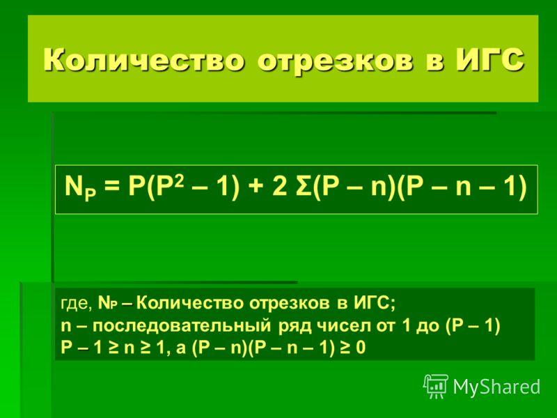 Количество отрезков в ИГС N P = P(P 2 – 1) + 2 Σ(P – n)(P – n – 1) – где, N P – Количество отрезков в ИГС; – n – последовательный ряд чисел от 1 до (P – 1) P – 1 n 1, а (P – n)(P – n – 1) 0