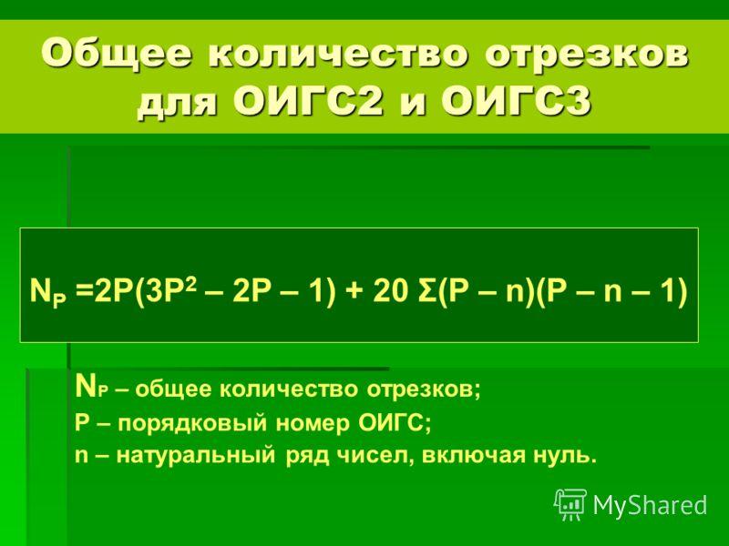 N P – общее количество отрезков; P – порядковый номер ОИГС; n – натуральный ряд чисел, включая нуль. N P =2P(3P 2 – 2P – 1) + 20 Σ(P – n)(P – n – 1) Общее количество отрезков для ОИГС2 и ОИГС3