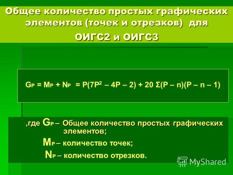 ,где –Общее количество простых графических элементов;,где G P – Общее количество простых графических элементов; – M P – количество точек; – N P – количество отрезков. Общее количество простых графических элементов (точек и отрезков) для ОИГС2 и ОИГС3