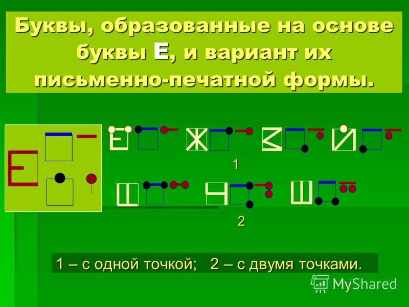 Буквы, образованные на основе буквы Е, и вариант их письменно-печатной формы. 1 – с одной точкой; 2 – с двумя точками. 1 2