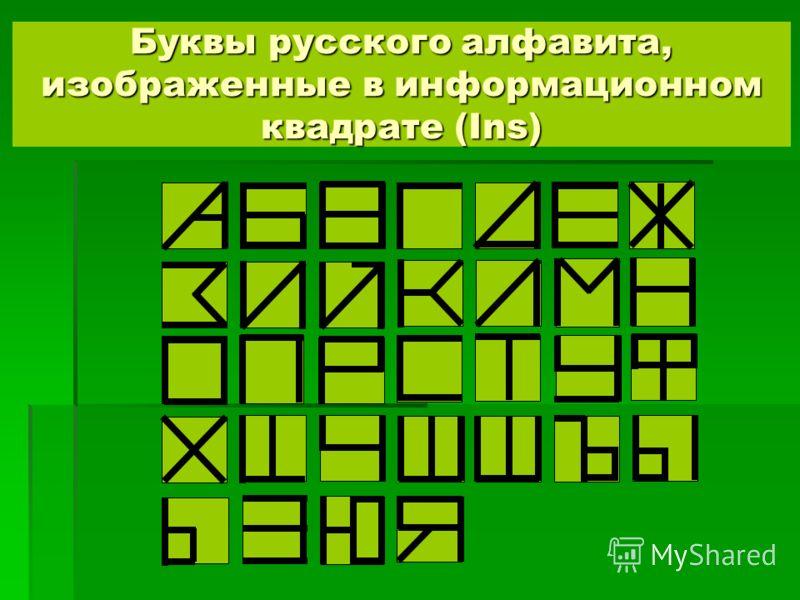 Буквы русского алфавита, изображенные в информационном квадрате (Ins)