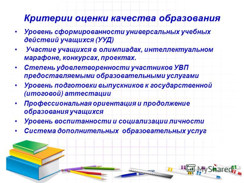 Критерии оценки качества образования Уровень сформированности универсальных учебных действий учащихся (УУД) Участие учащихся в олимпиадах, интеллектуальном марафоне, конкурсах, проектах. Степень удовлетворенности участников УВП предоставляемыми образ