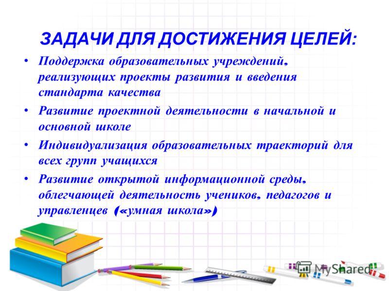 ЗАДАЧИ ДЛЯ ДОСТИЖЕНИЯ ЦЕЛЕЙ: Поддержка образовательных учреждений, реализующих проекты развития и введения стандарта качества Развитие проектной деятельности в начальной и основной школе Индивидуализация образовательных траекторий для всех групп учащ