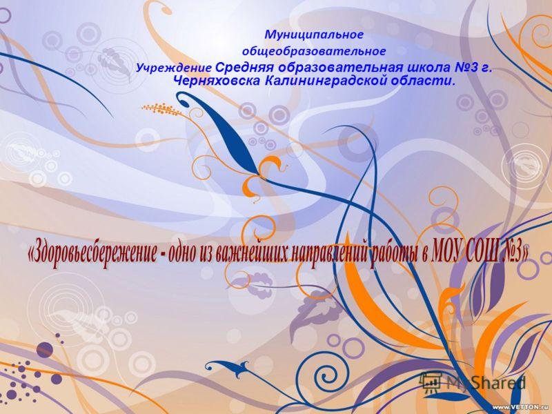 Муниципальное общеобразовательное Учреждение Средняя образовательная школа 3 г. Черняховска Калининградской области.