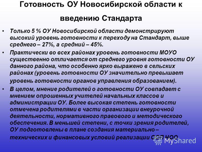 Готовность ОУ Новосибирской области к введению Стандарта Только 5 % ОУ Новосибирской области демонстрируют высокий уровень готовности к переходу на Стандарт, выше среднего – 27%, а средний – 45%. Практически во всех районах уровень готовности МОУО су