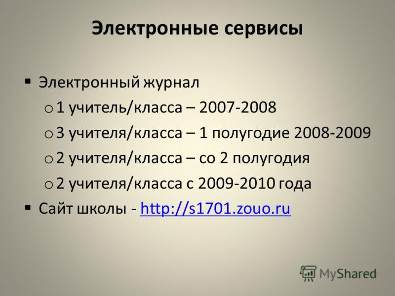 Электронные сервисы Электронный журнал o 1 учитель/класса – 2007-2008 o 3 учителя/класса – 1 полугодие 2008-2009 o 2 учителя/класса – со 2 полугодия o 2 учителя/класса с 2009-2010 года Сайт школы - http://s1701.zouo.ruhttp://s1701.zouo.ru