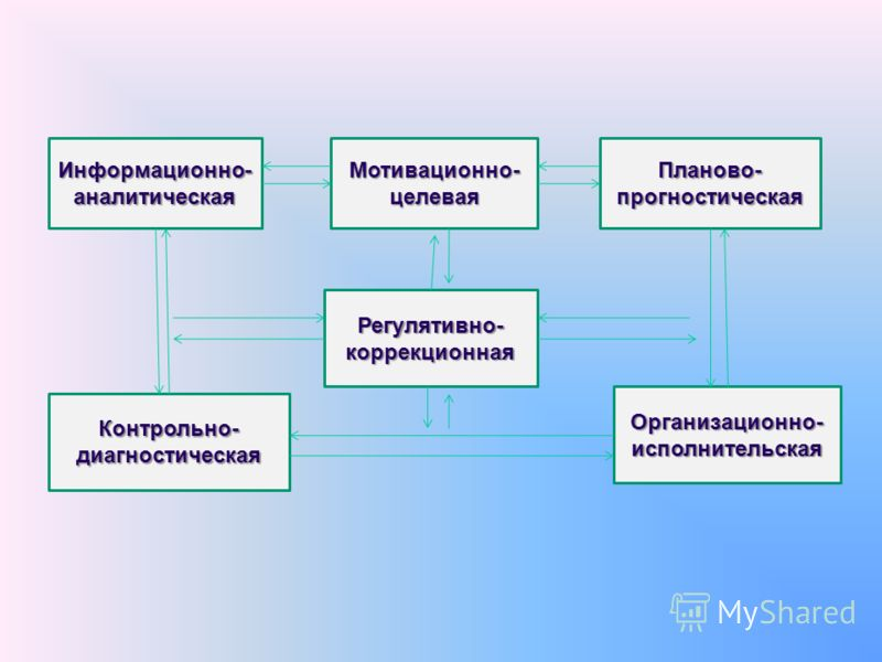 Информационно- аналитическая Мотивационно- целевая Планово- прогностическая Организационно- исполнительская Контрольно- диагностическая Регулятивно- коррекционная
