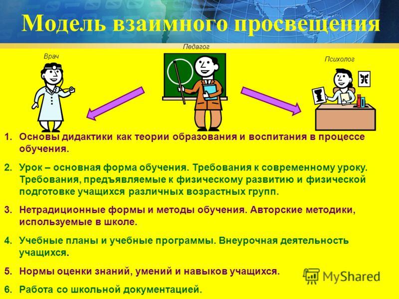 Модель взаимного просвещения 1.Основы дидактики как теории образования и воспитания в процессе обучения. 2.Урок – основная форма обучения. Требования к современному уроку. Требования, предъявляемые к физическому развитию и физической подготовке учащи