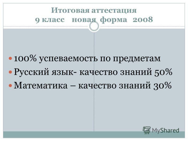 Итоговая аттестация 9 класс новая форма 2008 100% успеваемость по предметам Русский язык- качество знаний 50% Математика – качество знаний 30%