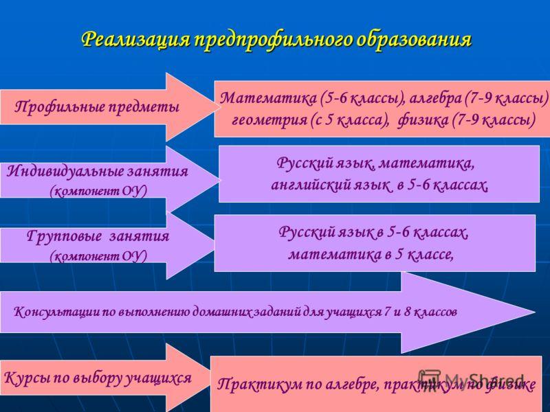 Реализация предпрофильного образования Математика (5-6 классы), алгебра (7-9 классы) геометрия (с 5 класса), физика (7-9 классы) Профильные предметы Русский язык, математика, английский язык в 5-6 классах, Индивидуальные занятия (компонент ОУ) Консул
