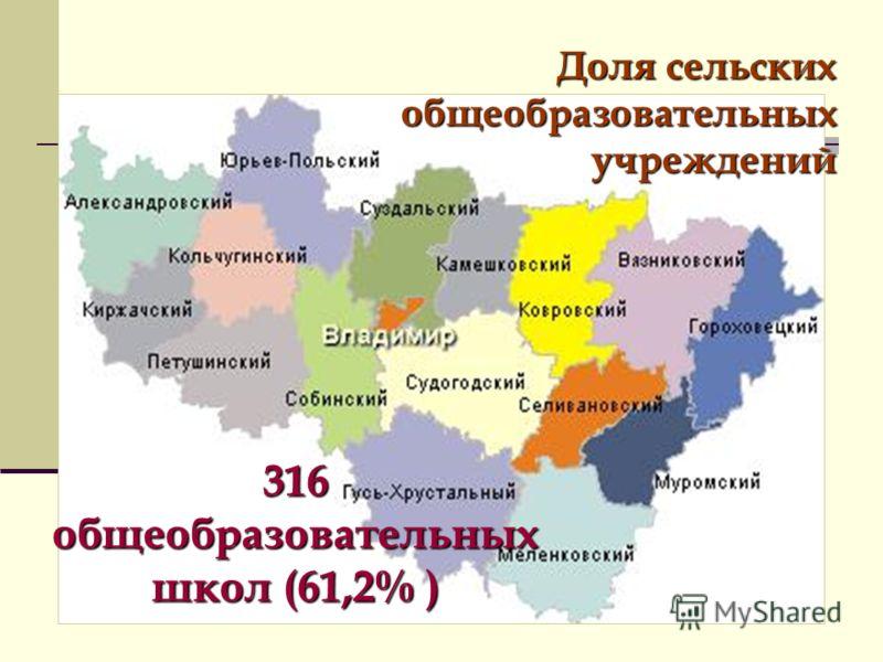Доля сельских общеобразовательных учреждений 316 общеобразовательных школ (61,2% )