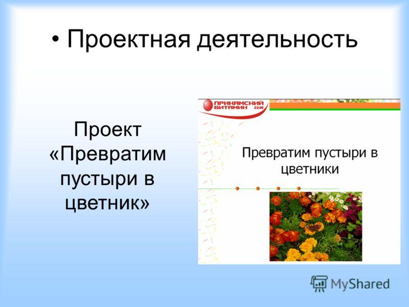 Проектная деятельность Проект «Превратим пустыри в цветник»