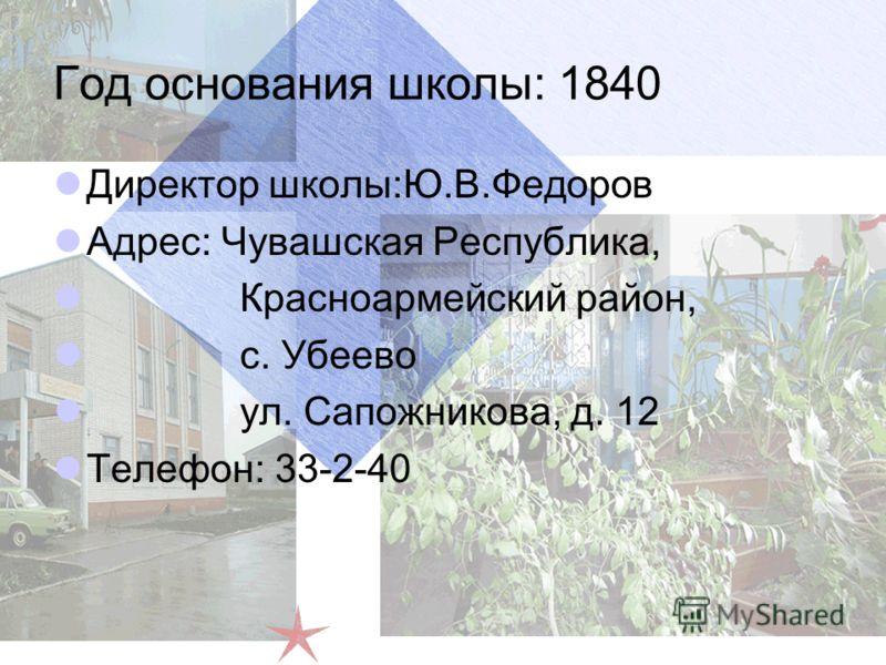 Год основания школы: 1840 Директор школы:Ю.В.Федоров Адрес: Чувашская Республика, Красноармейский район, с. Убеево ул. Сапожникова, д. 12 Телефон: 33-2-40
