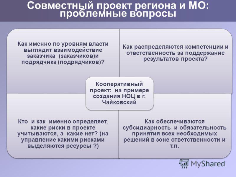 Совместный проект региона и МО: проблемные вопросы Как именно по уровням власти выглядит взаимодействие заказчика (заказчиков)и подрядчика (подрядчиков)? Как распределяются компетенции и ответственность за поддержание результатов проекта? Кто и как и