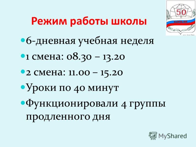 Режим работы школы 6-дневная учебная неделя 1 смена: 08.30 – 13.20 2 смена: 11.00 – 15.20 Уроки по 40 минут Функционировали 4 группы продленного дня
