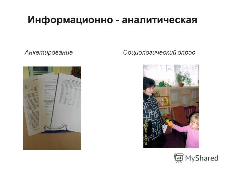 Информационно - аналитическая Анкетирование Социологический опрос