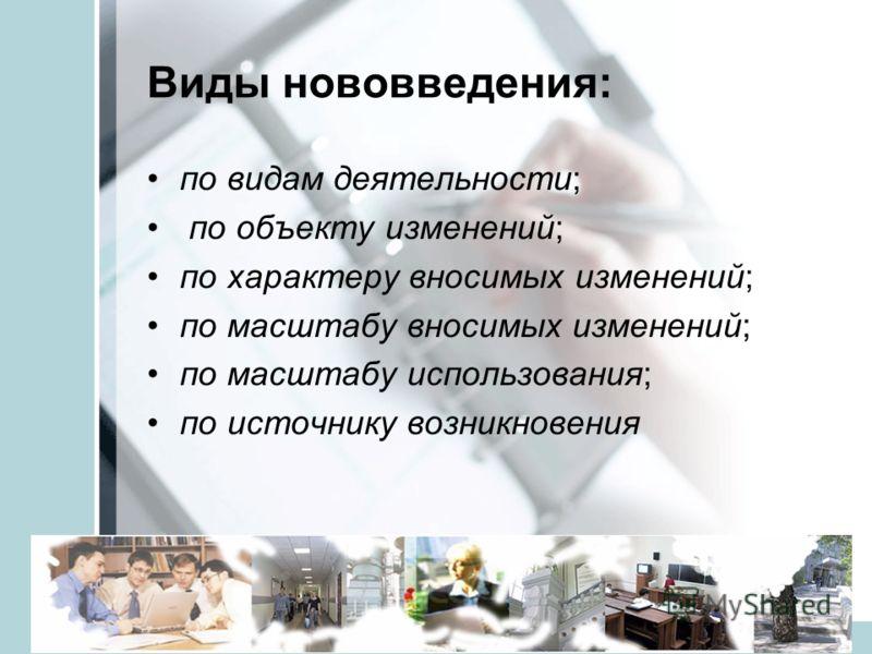 veraistomina@mail.ru5 Виды нововведения: по видам деятельности; по объекту изменений; по характеру вносимых изменений; по масштабу вносимых изменений; по масштабу использования; по источнику возникновения