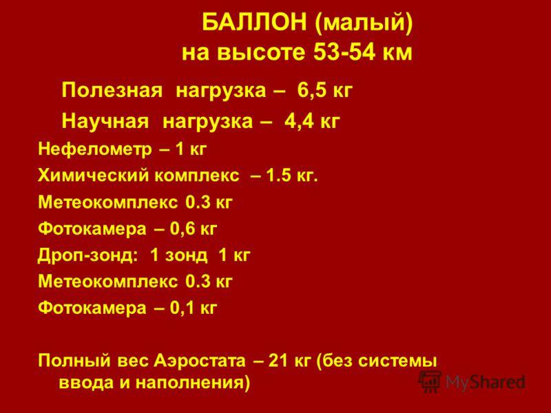 БАЛЛОН (малый) на высоте 53-54 км Полезная нагрузка – 6,5 кг Научная нагрузка – 4,4 кг Нефелометр – 1 кг Химический комплекс – 1.5 кг. Метеокомплекс 0.3 кг Фотокамера – 0,6 кг Дроп-зонд: 1 зонд 1 кг Метеокомплекс 0.3 кг Фотокамера – 0,1 кг Полный вес