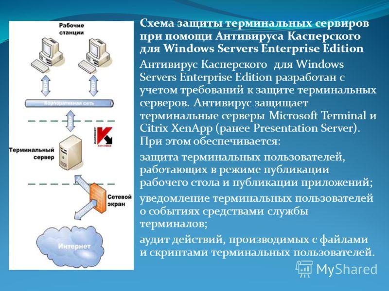 Схема защиты терминальных сервиров при помощи Антивируса Касперского для Windows Servers Enterprise Edition Антивирус Касперского для Windows Servers Enterprise Edition разработан с учетом требований к защите терминальных серверов. Антивирус защищает